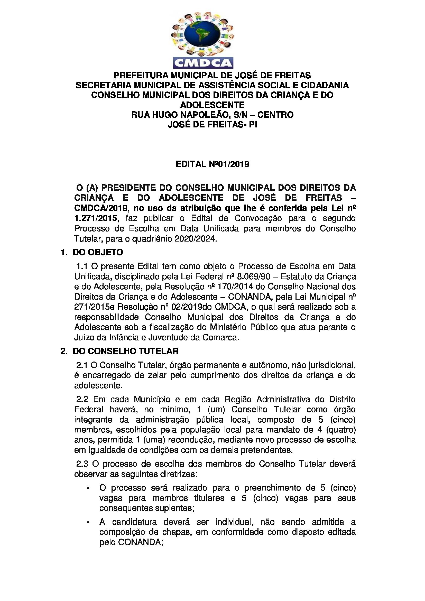 Edital de Convocação para eleição do Conselho Tutelar é lançado em José de Freitas