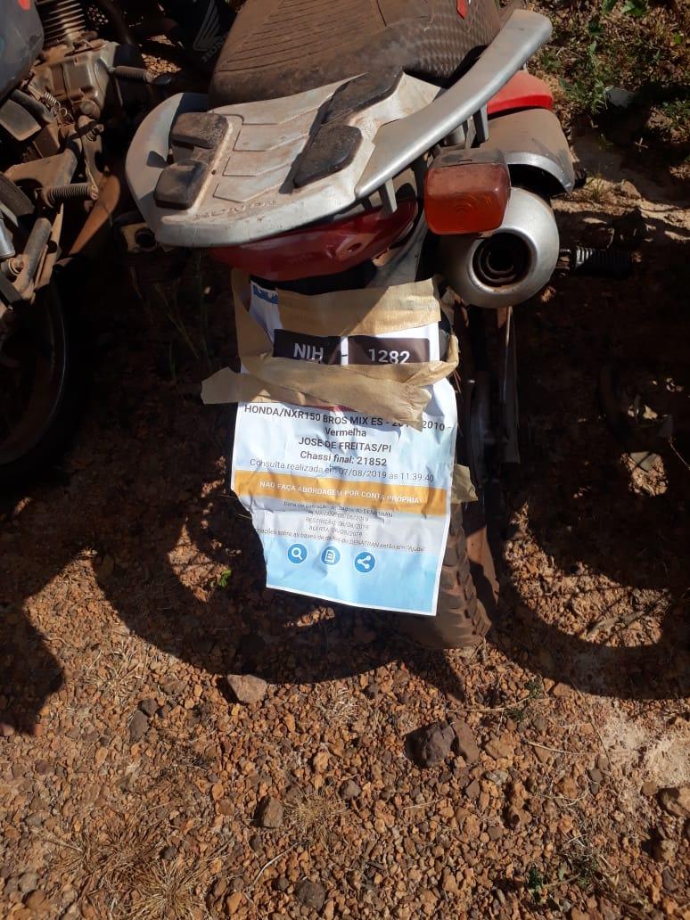 Motocicleta com placa de José de Freitas é recuperada em Nossa Senhora dos Remédios