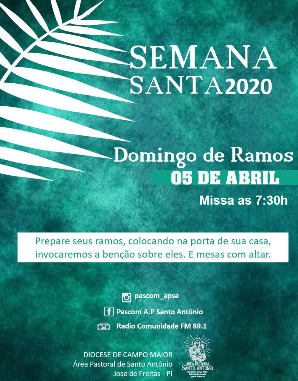 Celebrações da Semana Santa da Área Pastoral de Santo Antônio será através das Redes sociais, Rádio e Portal, diz Padre Flávio Naylton